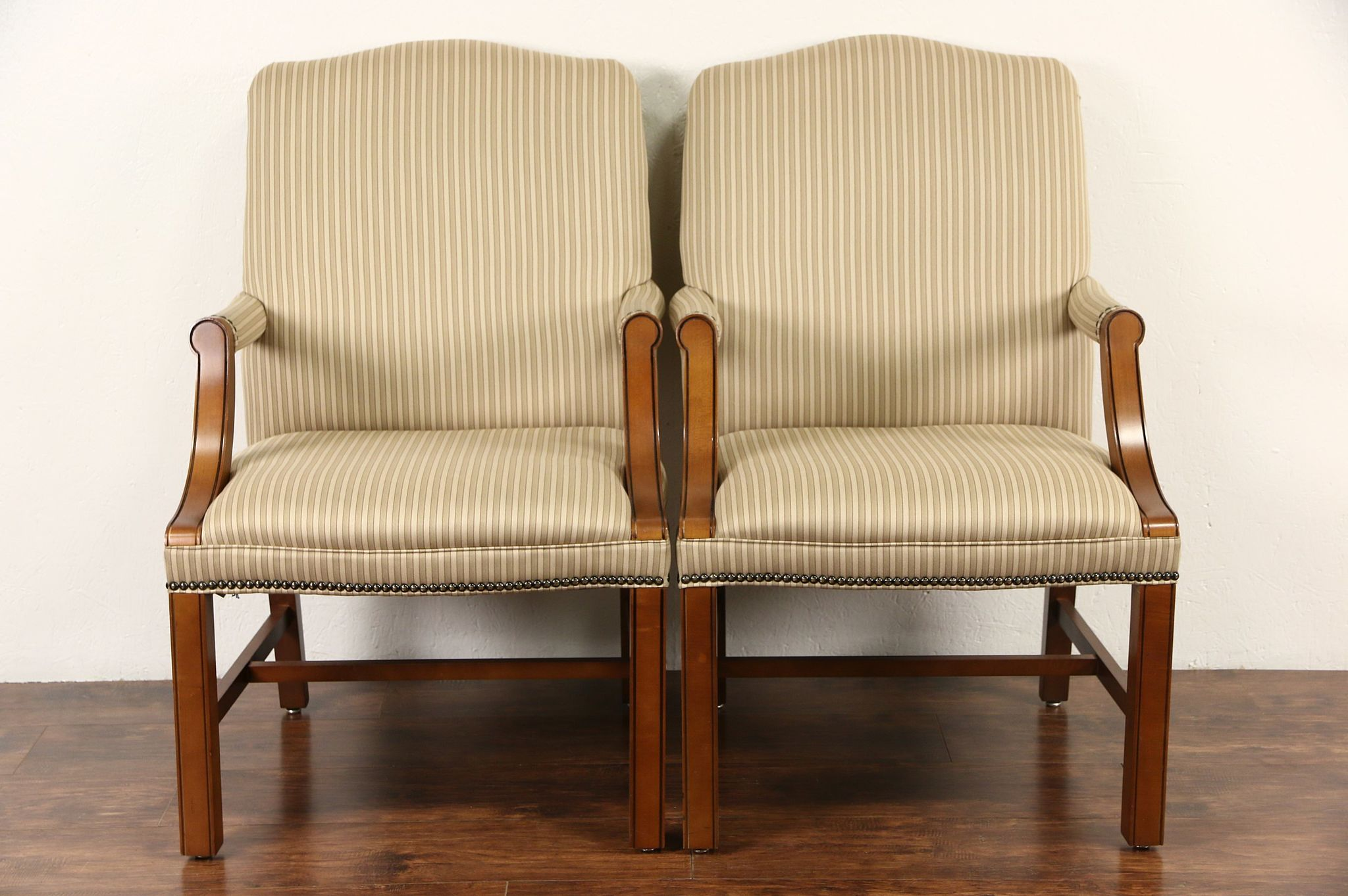 Pair Traditional Upholstered Vintage Office Or Library Chairs, Signed  Kimball