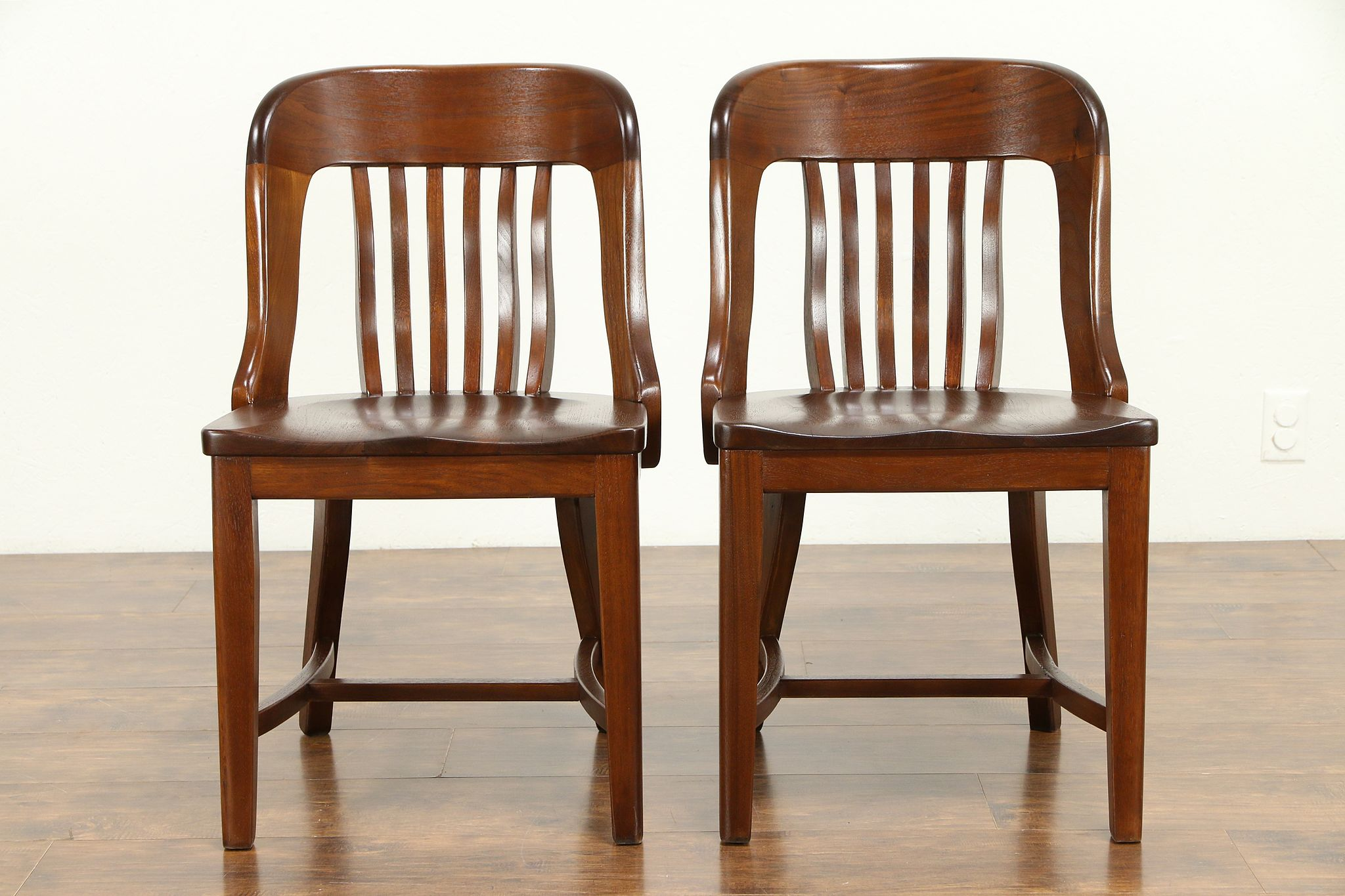 Astounding Pair Of Walnut Antique Banker Desk Library Or Office Chairs 31115 Lamtechconsult Wood Chair Design Ideas Lamtechconsultcom