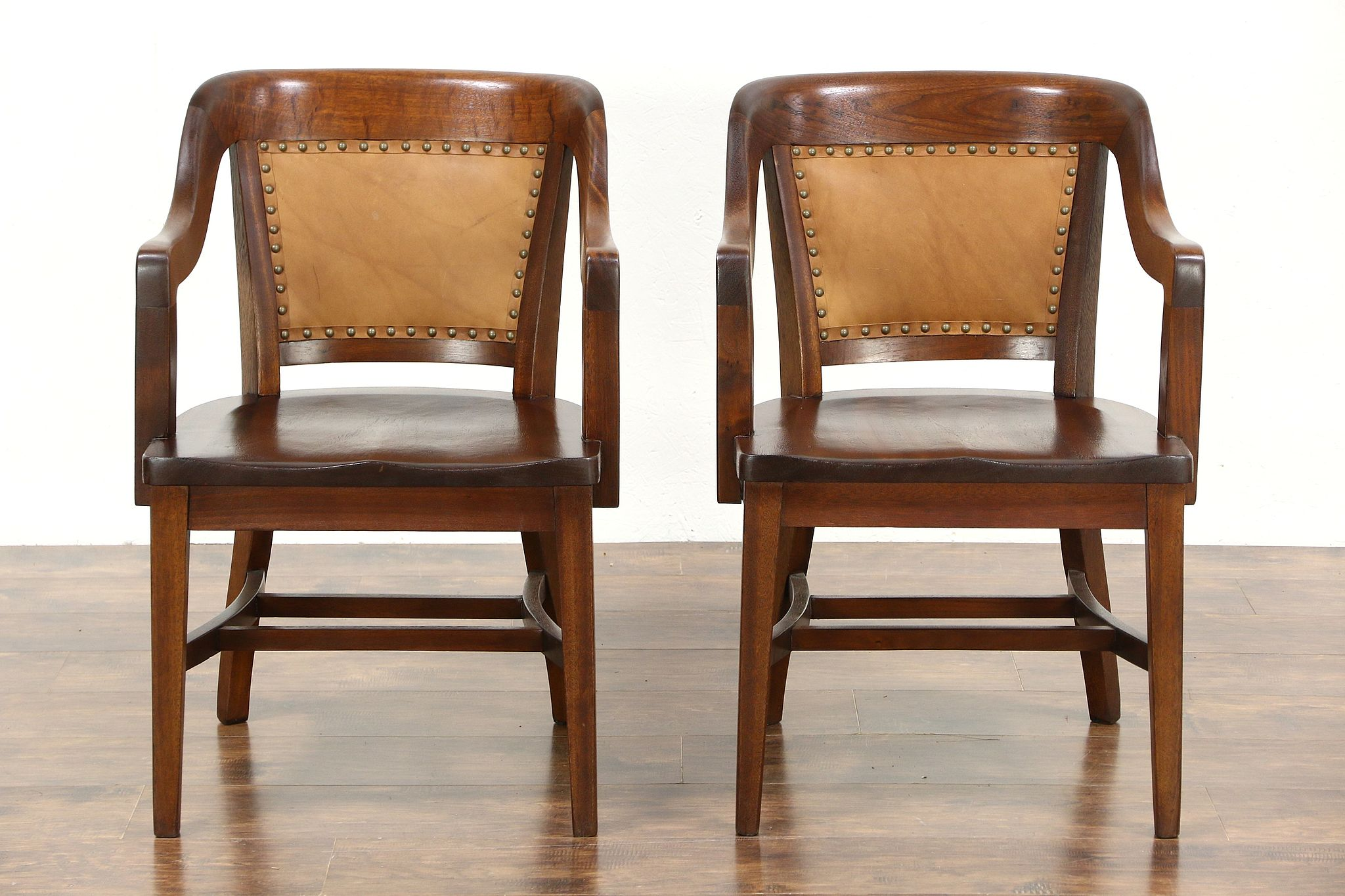 Charmant Pair Of Antique Mahogany U0026 Leather Banker Chairs, Signed Lome, Chicago