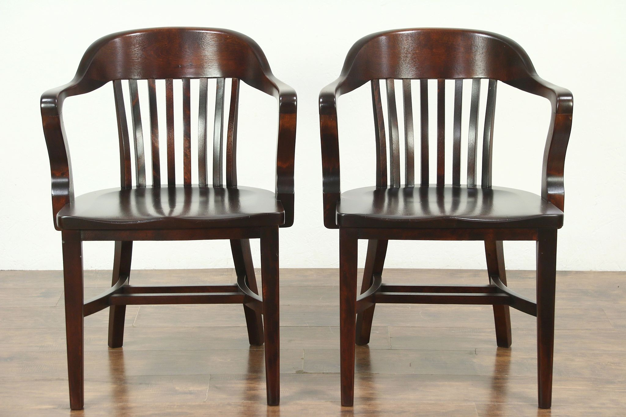 Sold pair antique banker library or office chairs mahogany finish 28812 harp gallery
