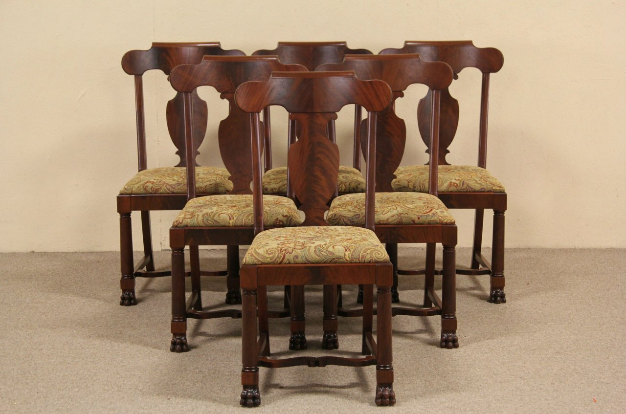 Set of Six 1900 Antique Empire Mahogany Dining Chairs, ... - SOLD - Set Of Six 1900 Antique Empire Mahogany Dining Chairs, Paw