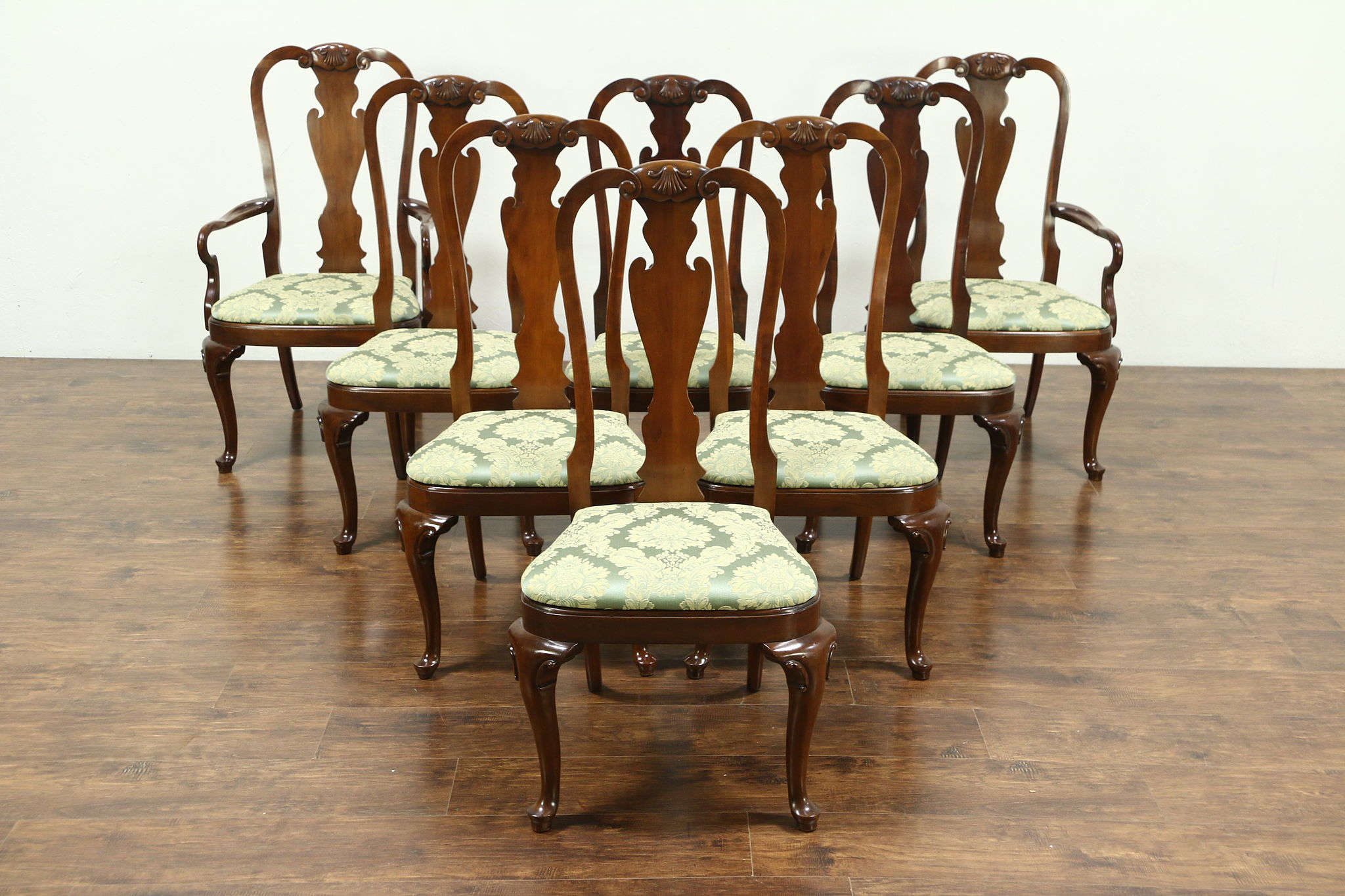 new concept 9c1e6 717e6 Set of 8 Traditional Cherry Dining Chairs, New Upholstery, Signed Hekman  #28851