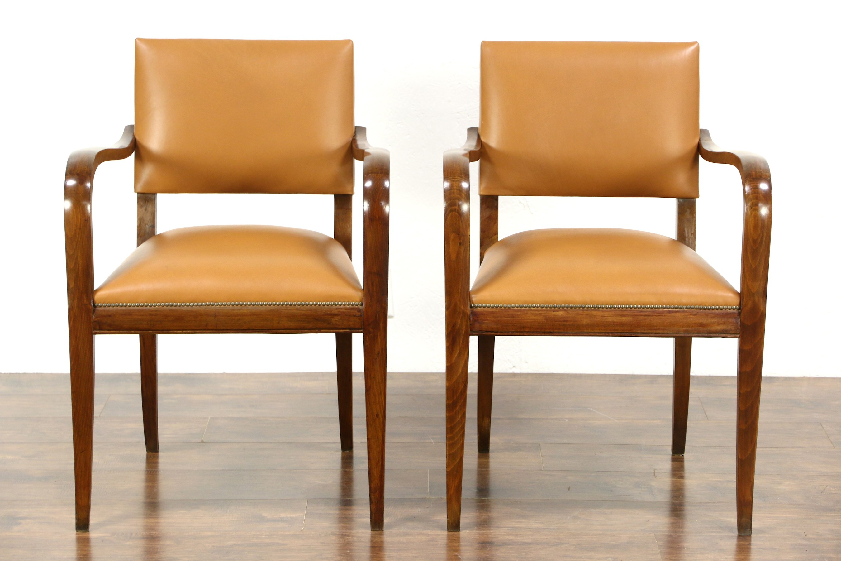Pair Of Midcentury Modern 1960u0027s Vintage Danish Leather Office Or Library  Chairs