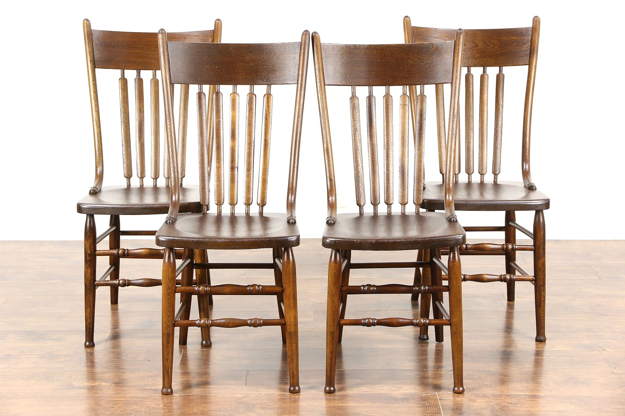 Sold Set Of 4 Farmhouse Kitchen Antique 1900 Elm Dining Chairs