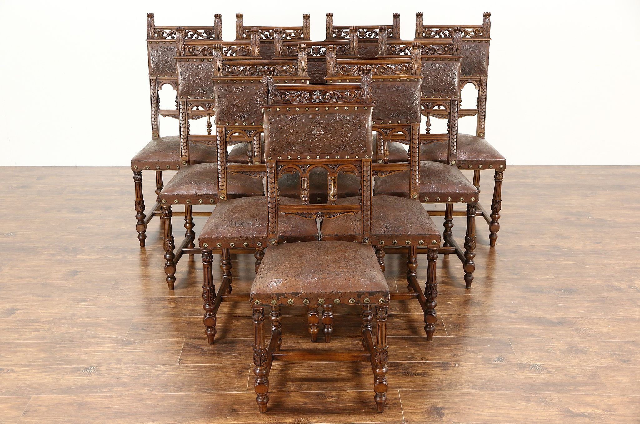 Antique italian chairs - Italian Set Of 10 Carved Antique 1890 Dining Chairs Original Tooled Leather