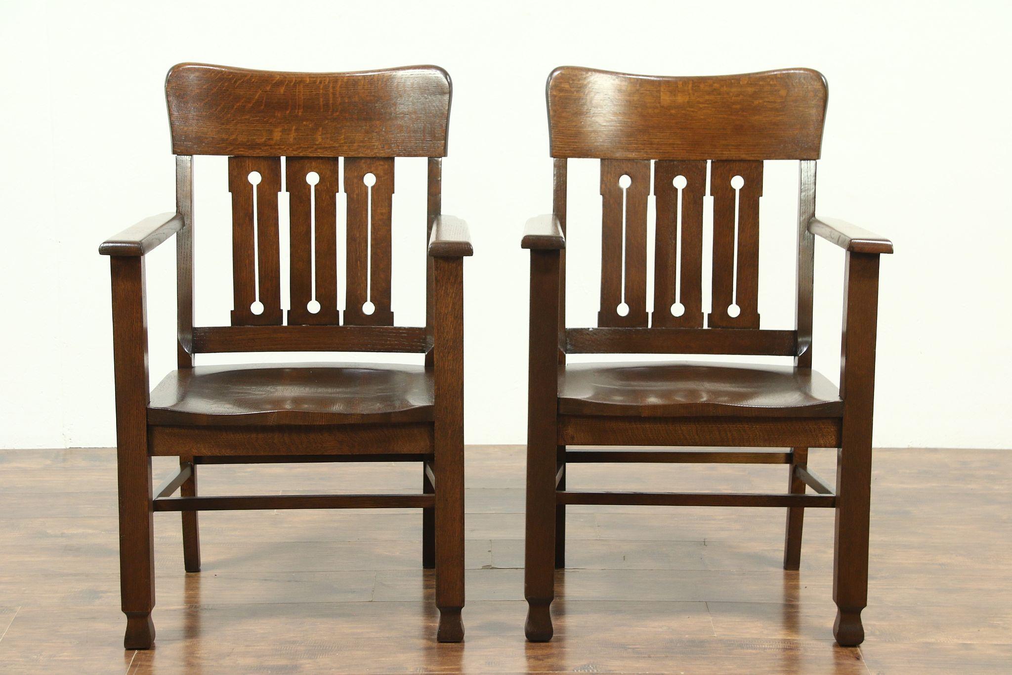 Pair Of Arts U0026 Crafts Antique Quarter Sawn Oak Craftsman Billiard Chairs  #28864 ...