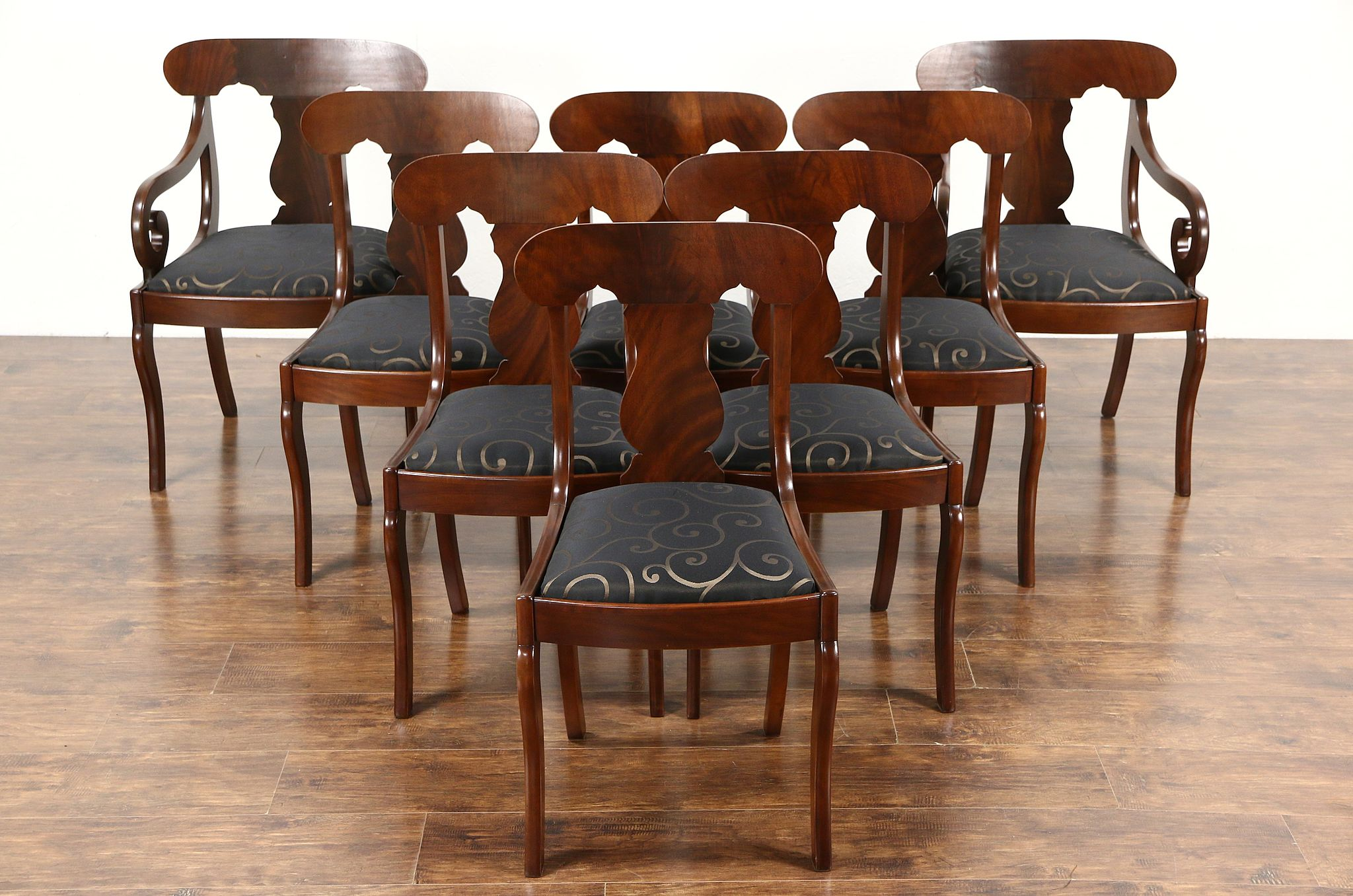 Incroyable Set Of 8 Empire 1930 Vintage Dining Chairs, Cherry U0026 Mahogany, New  Upholstery