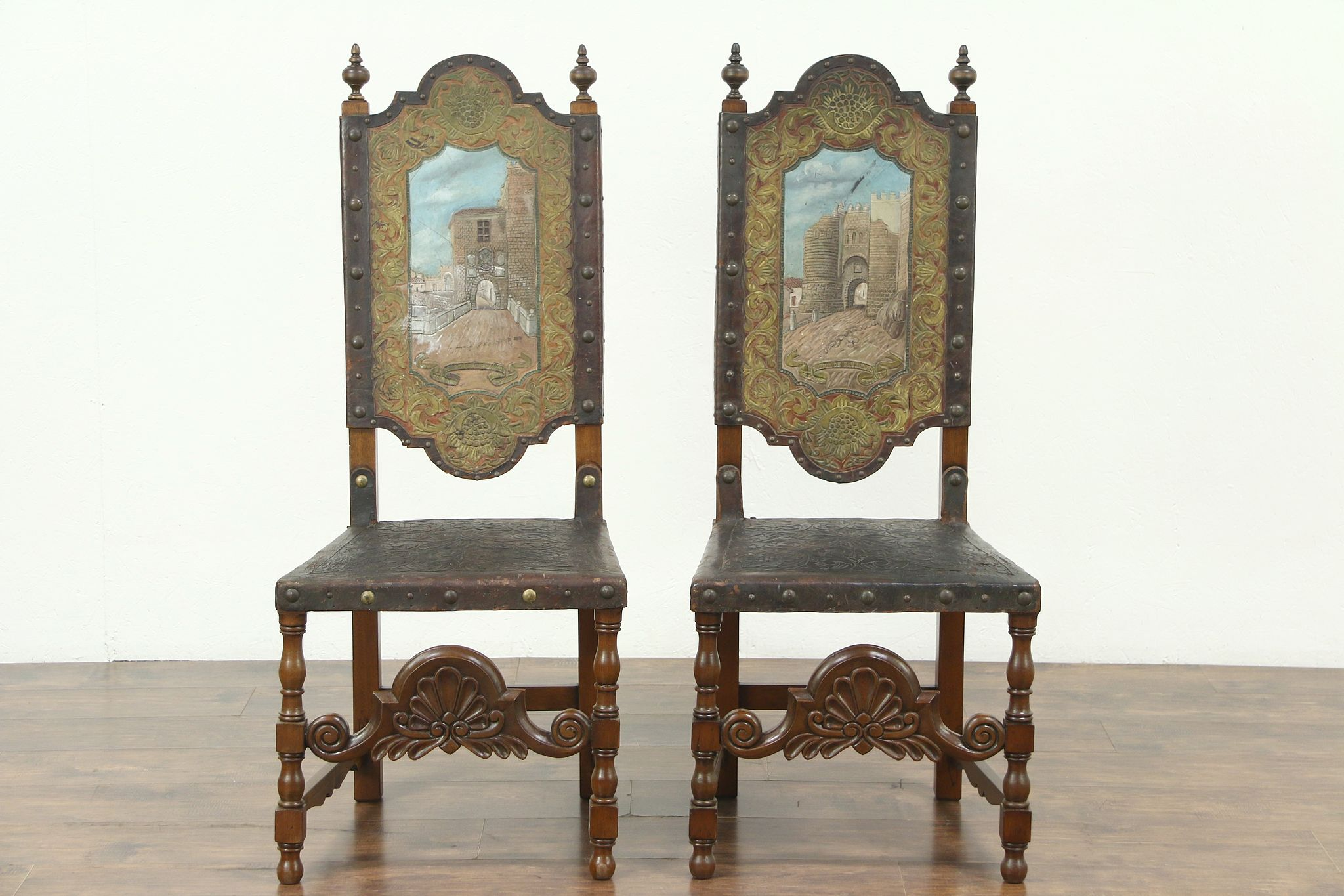 Genial Pair Antique Leather Chairs, Hand Painted Gates Toledo U0026 Segovia Spain  #28754 ...