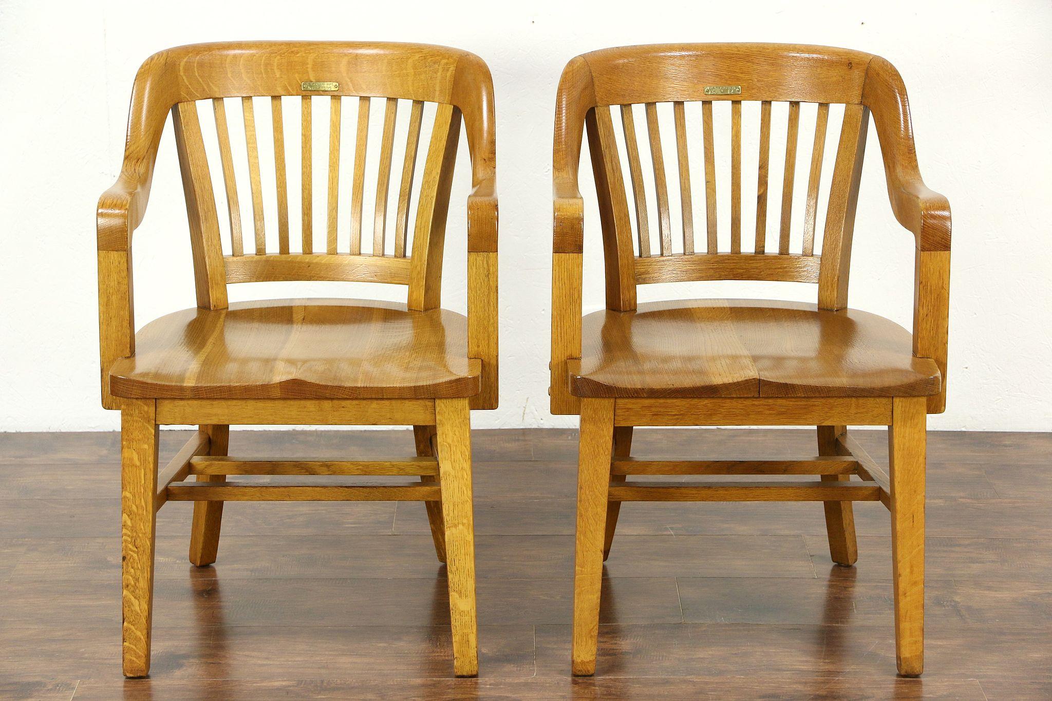 Pair Quarter Sawn Oak 1915 Antique Desk  Office or Library Chairs. Pair Quarter Sawn Oak 1915 Antique Desk  Office or Library Chairs
