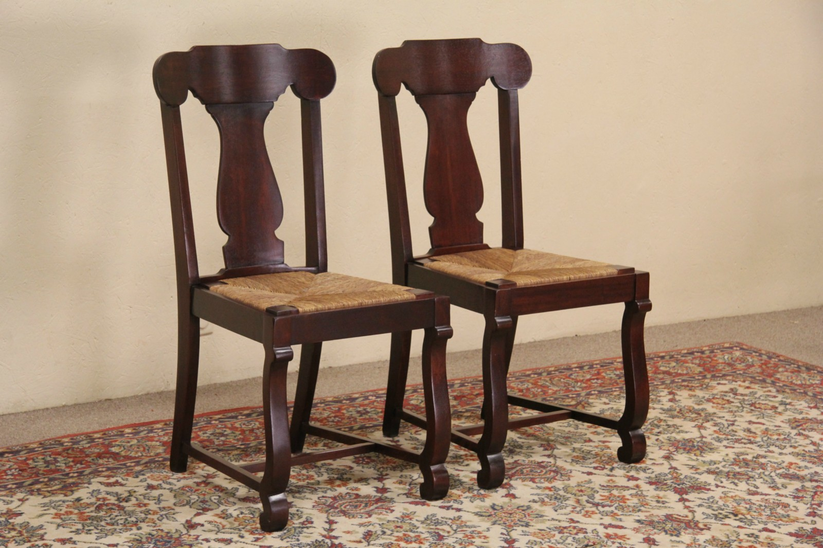 Pair Of 1910 Antique Mahogany Side Or Dining Chairs, Rush Seats
