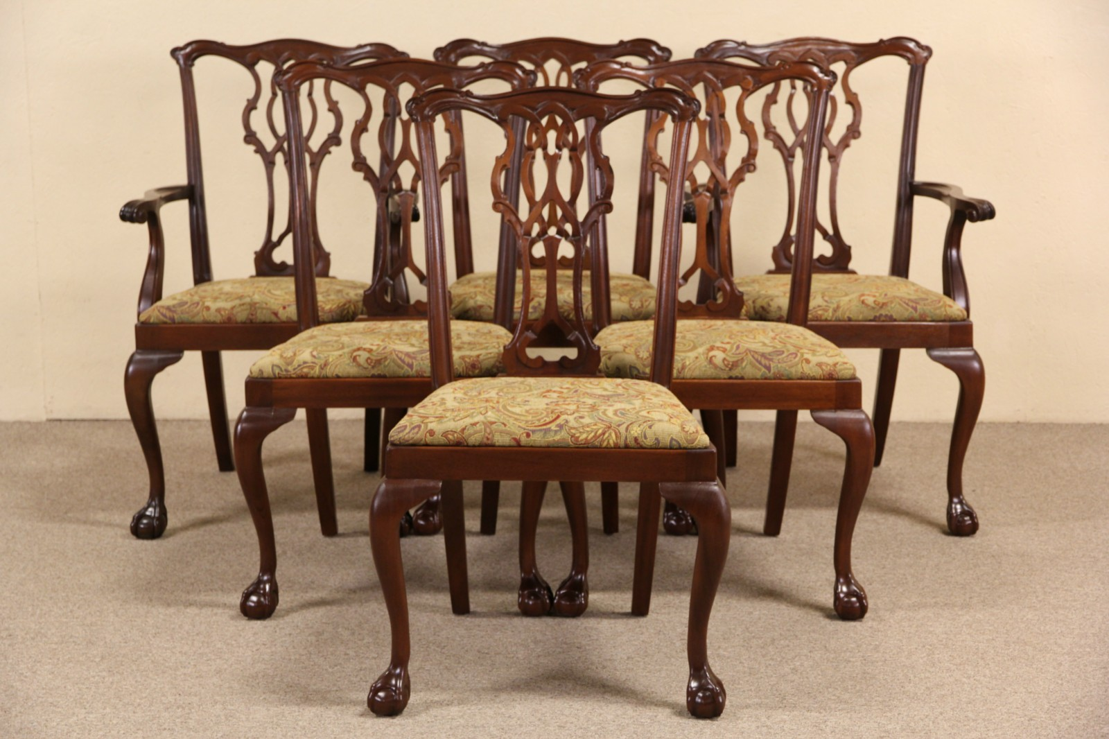Georgian Chippendale Set Of 6 Carved Mahogany Dining Chairs, 1950 Vintage  ...