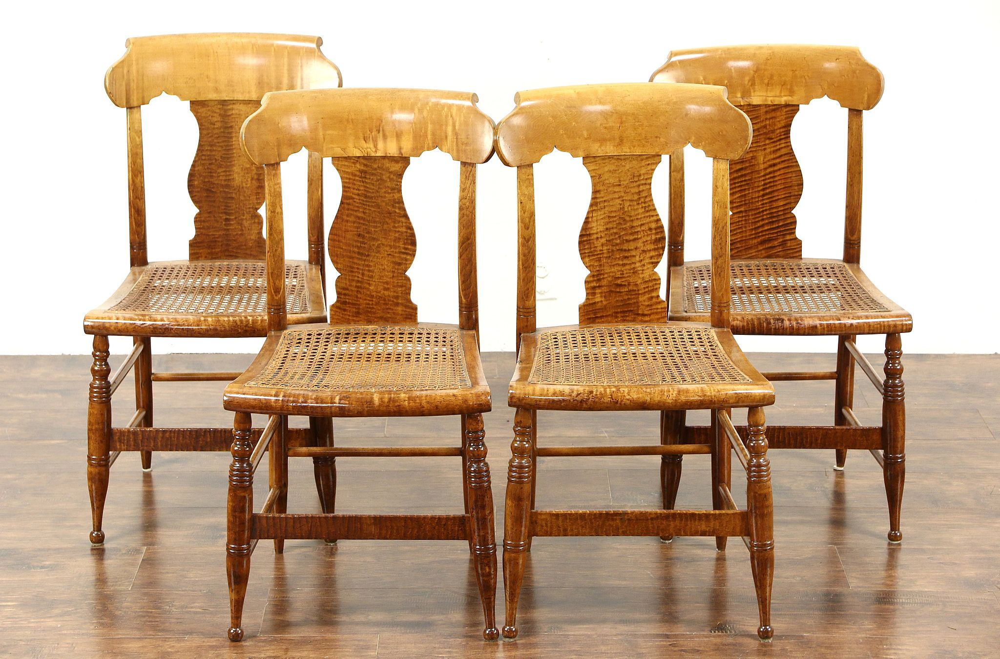 SOLD Set of 4 Antique 1830 Tiger Birdseye Curly Maple New