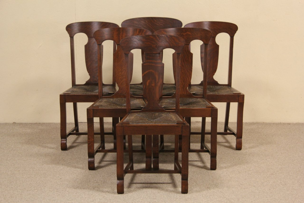 Set Of 6 Antique 1900 Oak Dining Chairs, Rush Seats