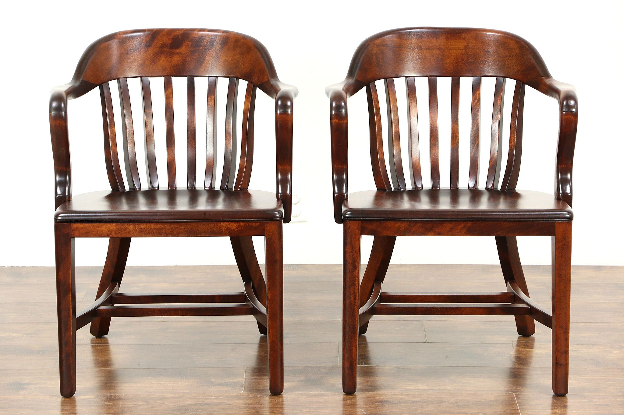 Pair 1920 Antique Birch Banker Office or Library Chairs  SOLD   Pair 1920 Antique Birch Banker Office or Library Chairs  . Antique Library Armchairs. Home Design Ideas