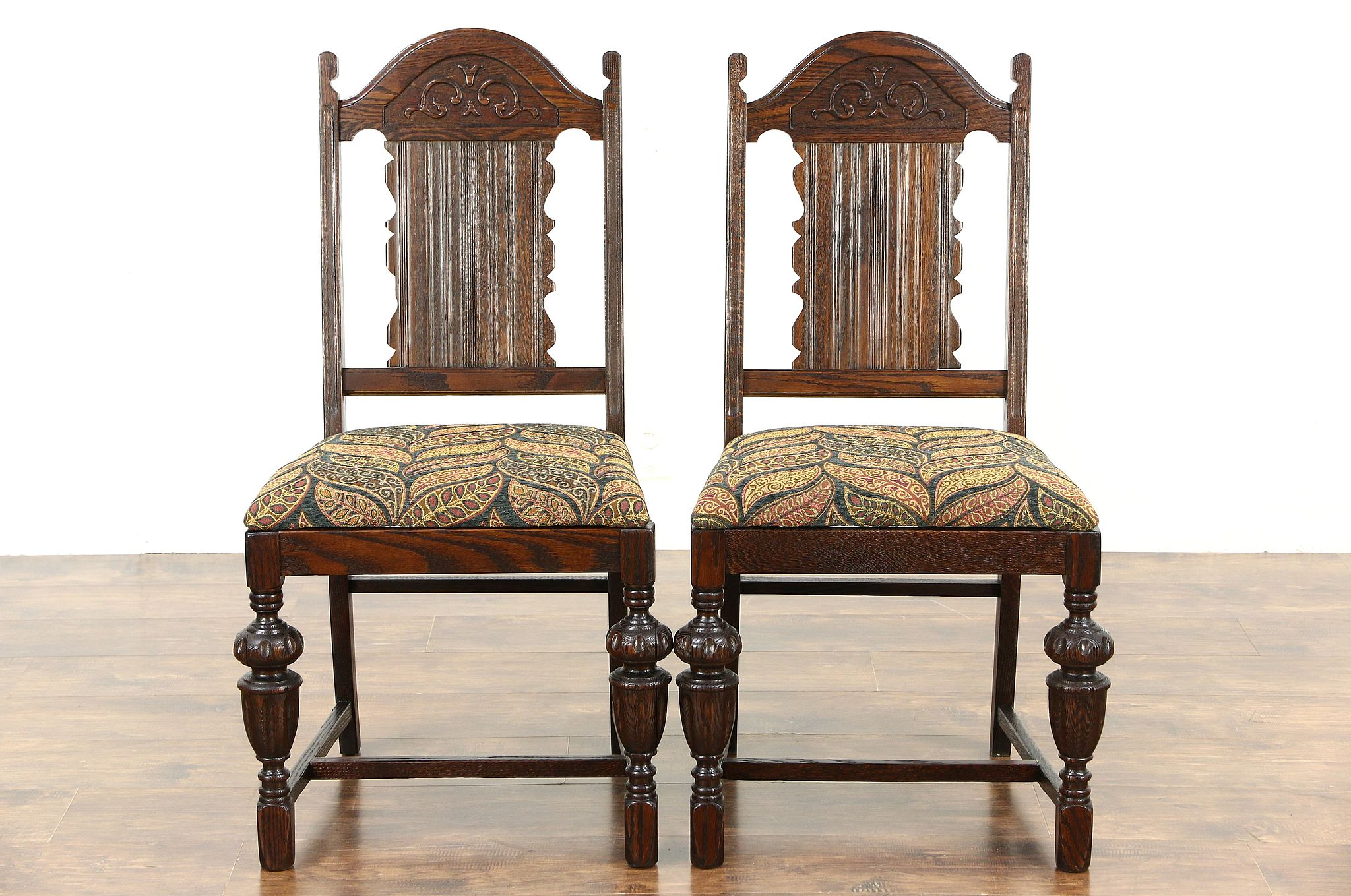 sold oak pair english tudor 1920 s antique dining or side chairs