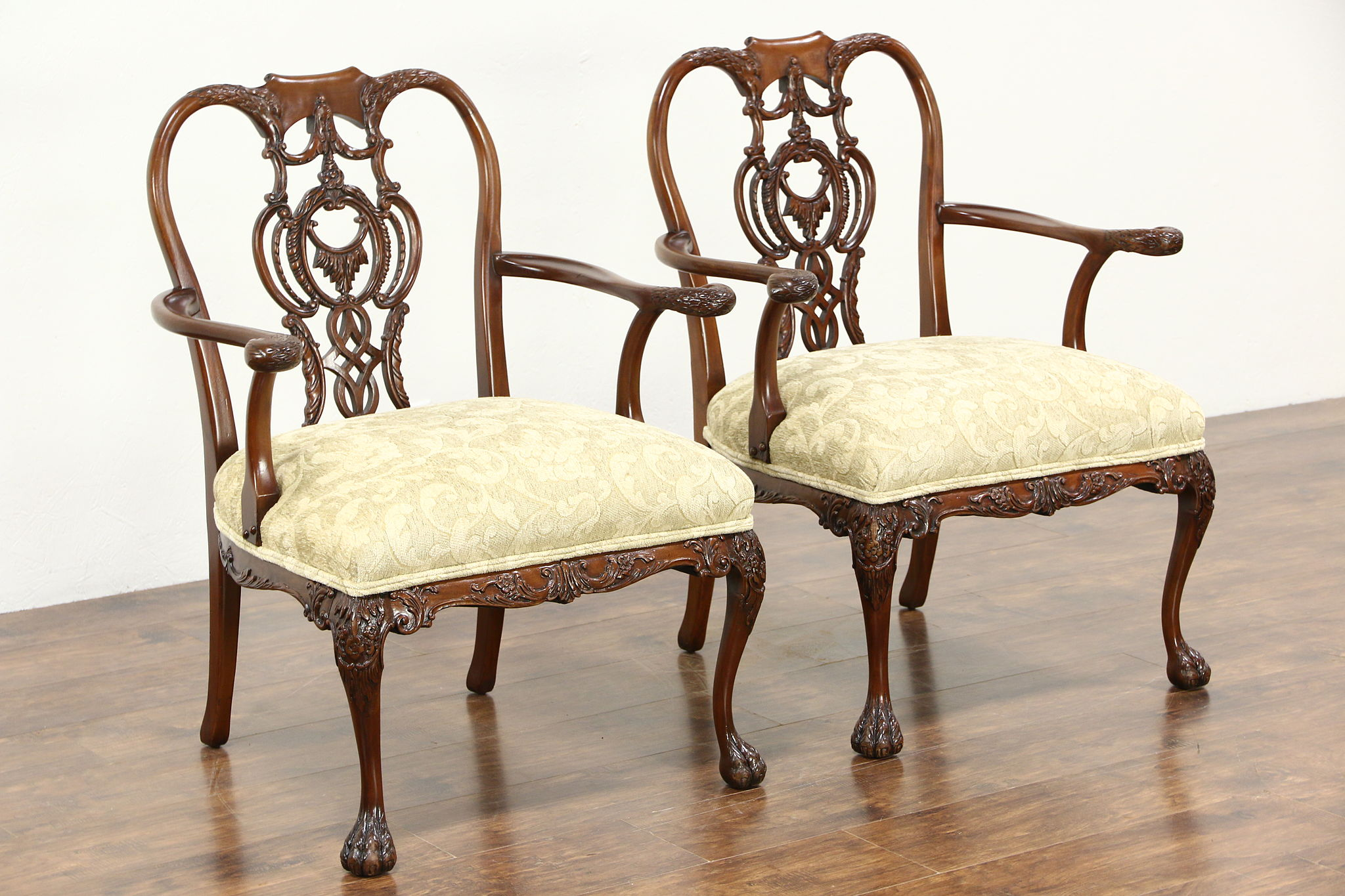 Sold Pair Irish Chippendale Chairs Carved Eagle Heads Harp