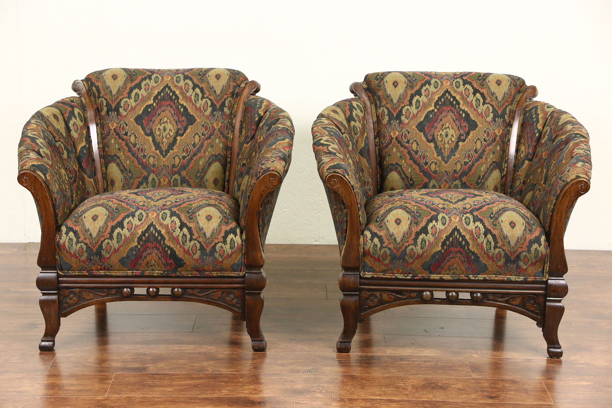 Antique rocking chair with leather seat - Pair Of Victorian Eastlake 1890 Antique Club Chairs New Upholstery
