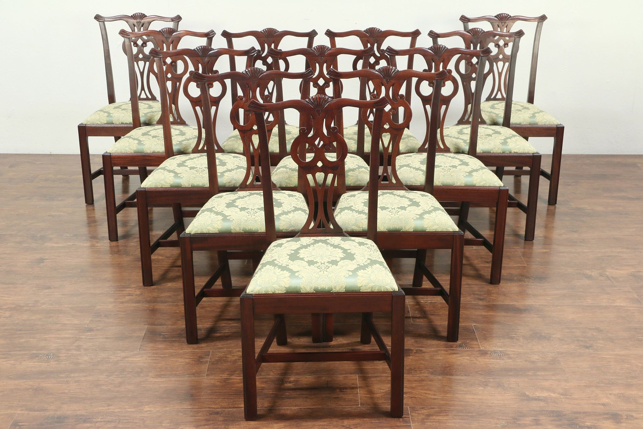 Set of 12 Georgian Style Vintage Mahogany Dining Chairs, New Upholstery  #29193