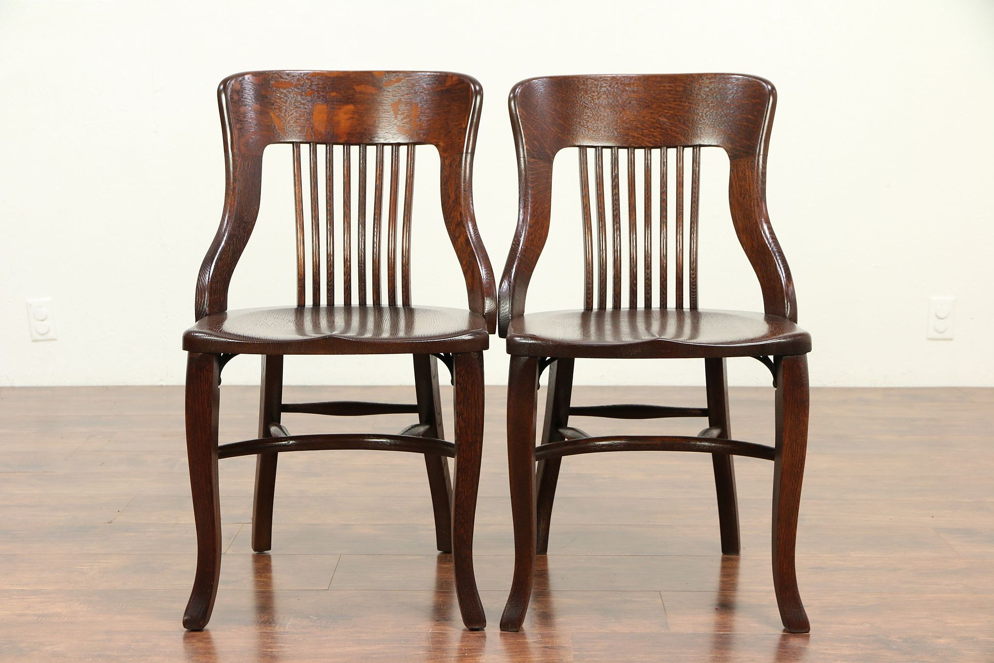 Pair Antique Quarter Sawn Oak Dining Chairs Heywood Wakefield Chicago  #29263 ...