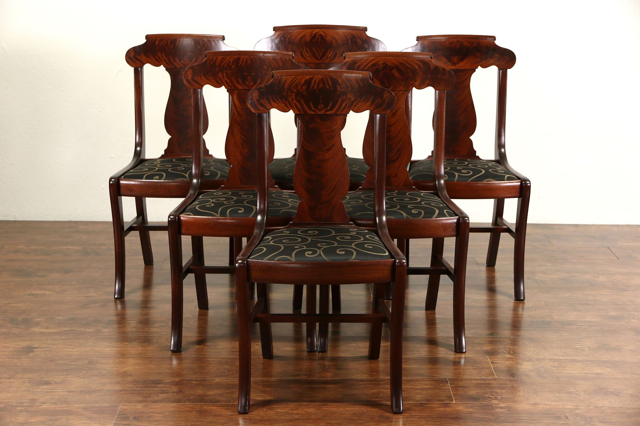 Superieur Set Of 6 Antique 1900 Mahogany Empire Dining Chairs, New Upholstery, Signed