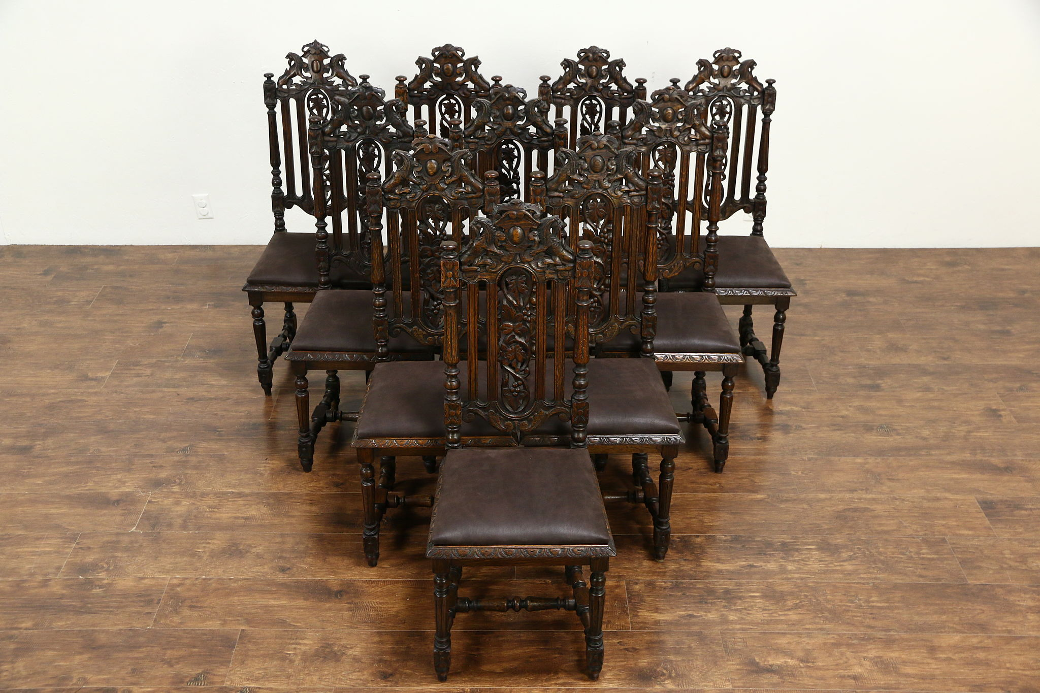 Astounding Set Of 10 Antique Black Forest Oak Leather Dining Chairs Carved Grapevines Customarchery Wood Chair Design Ideas Customarcherynet