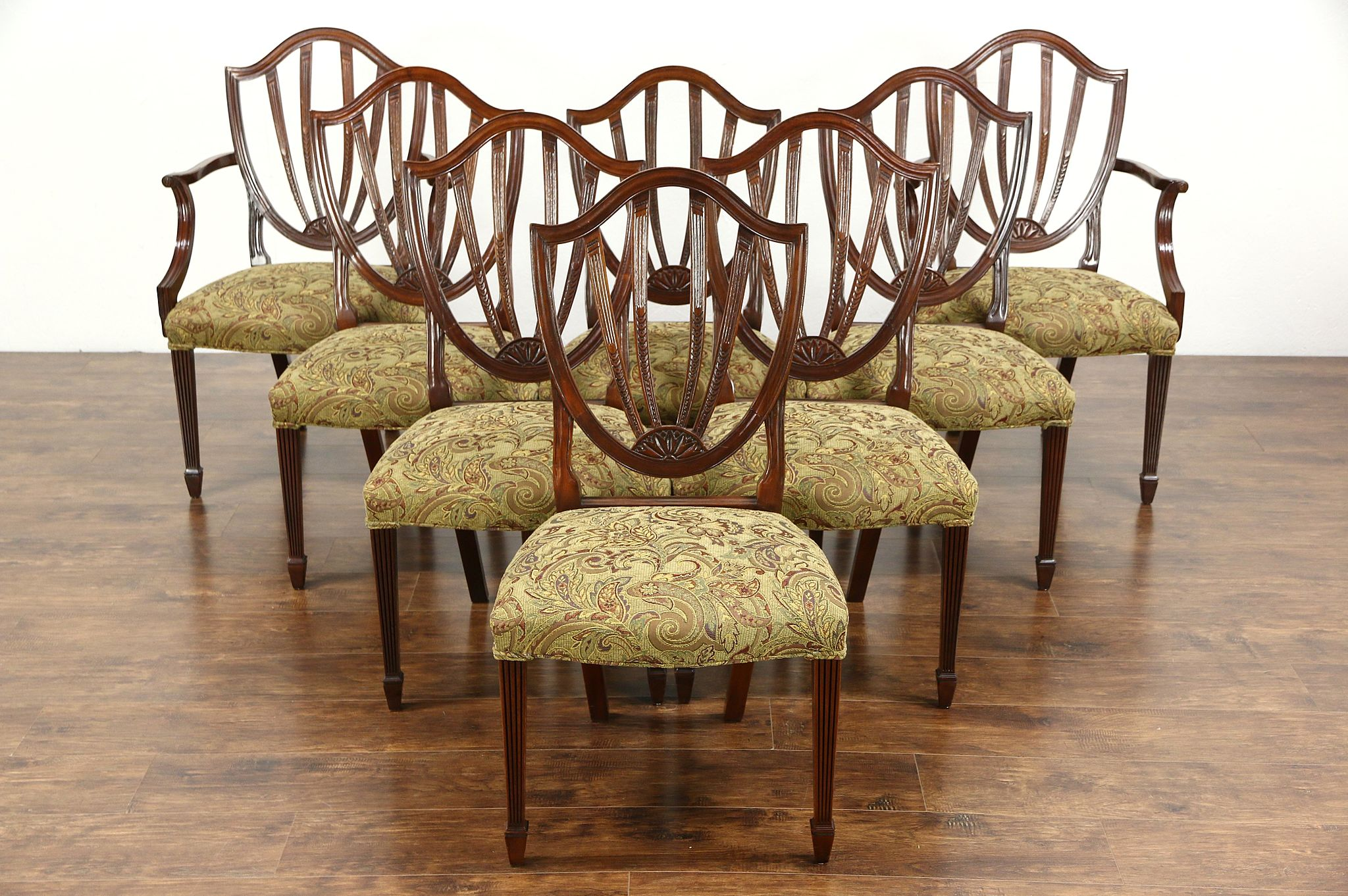 Exceptionnel Set Of 8 Baker Historic Charleston Signed Dining Chairs, New Upholstery