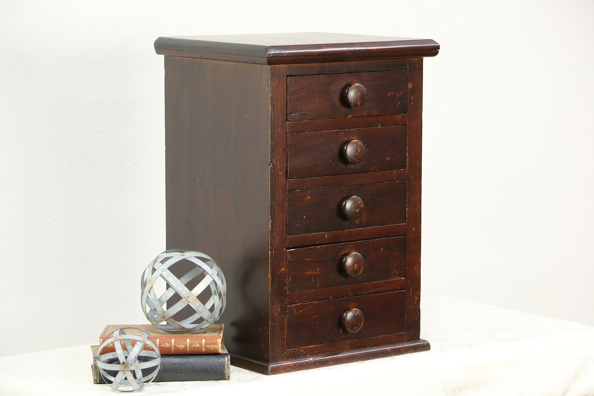 Elegant Primitive Pine Antique 1900 Tabletop File, Jewelry Chest Or Collector  Cabinet ...