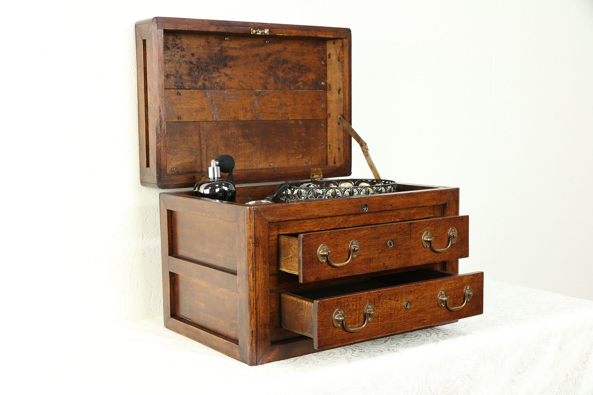 Fruitwood Antique Jewelry Or Tool Chest Collector Cabinet 30347