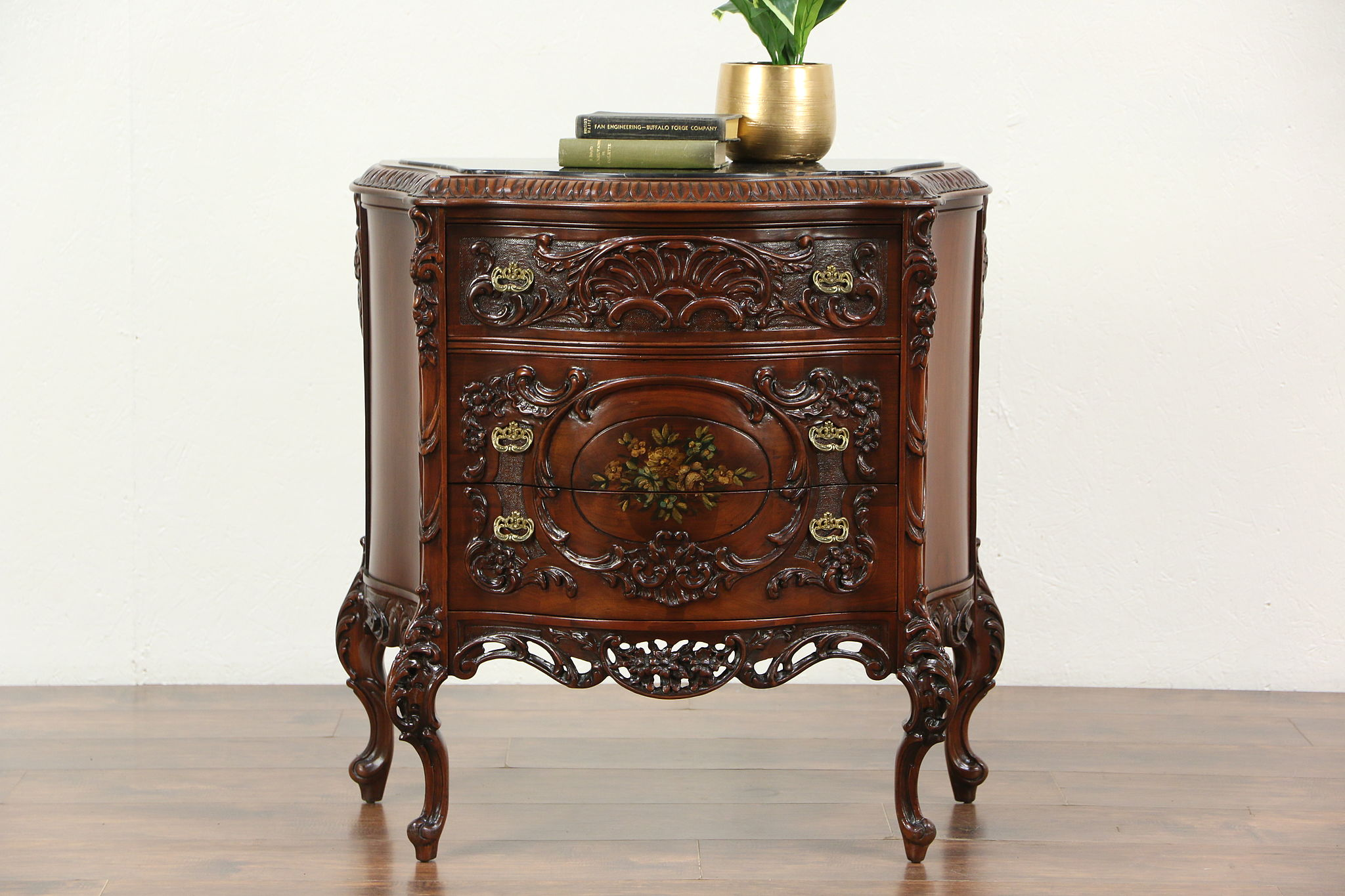 Marble Top Hall Console Cabinet Or Chest 1920 S Carved Walnut Hand Painted