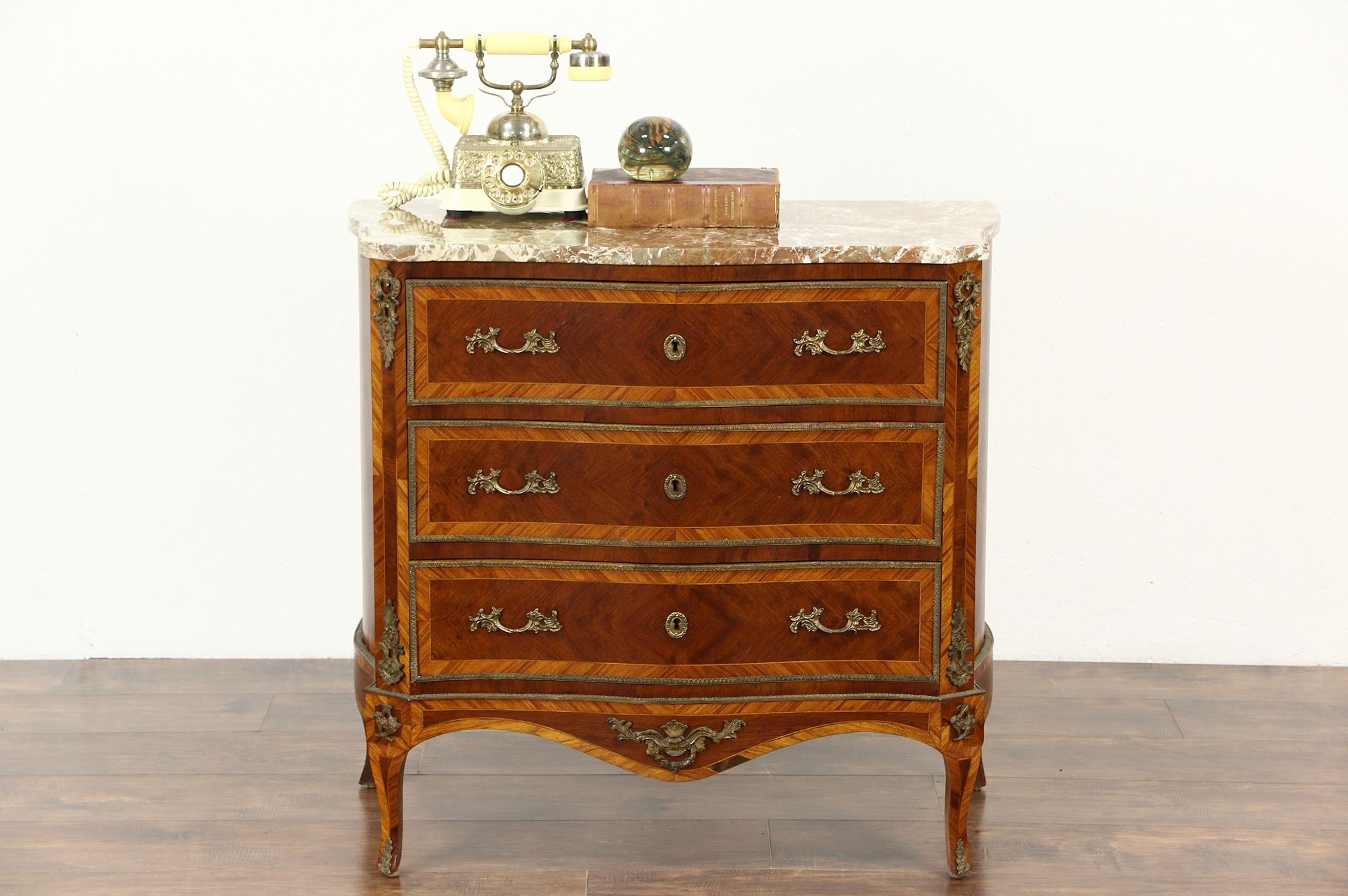 Beau French Antique Rosewood Marquetry 1920u0027s Chest Or Commode, Marble Top