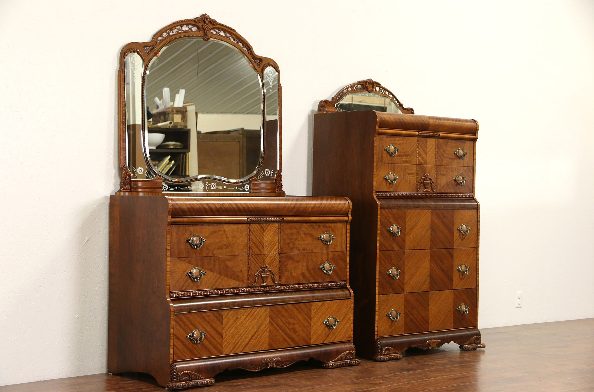 Pair Art Deco 1935 Vintage Waterfall Highboy Dresser Or Chest With Mirrors