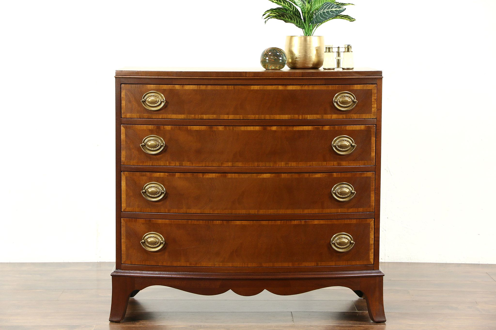 Traditional Mahogany 1920 S Antique Bowfront Chest Or Dresser