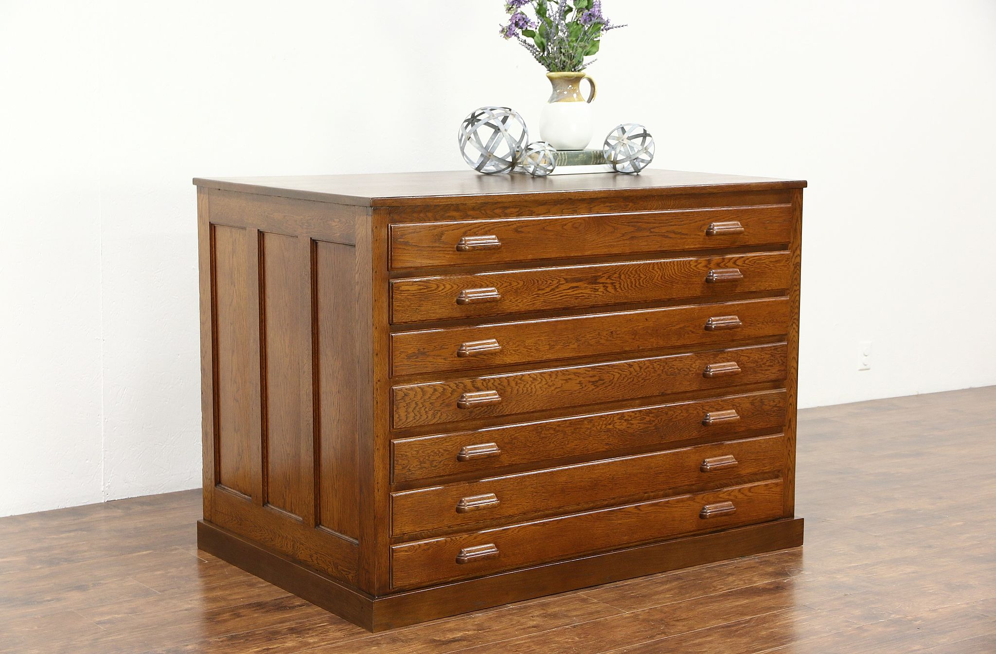 Oak 1910 Antique 7 Drawer Map Chest Or Drawing File Cabinet