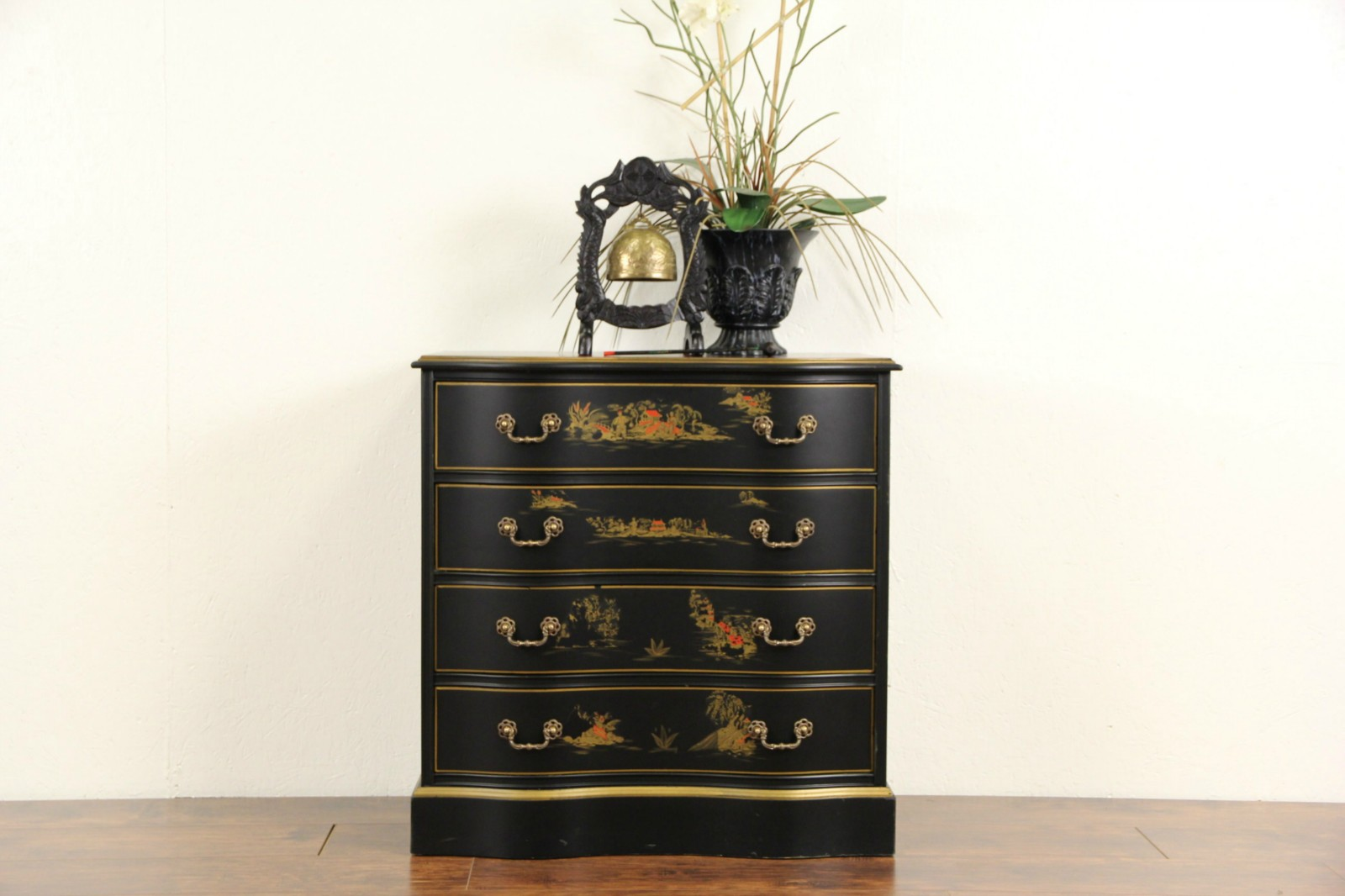 Asian Chinese Black Lacquer Vintage Hall Chest Dresser Or Nightstand