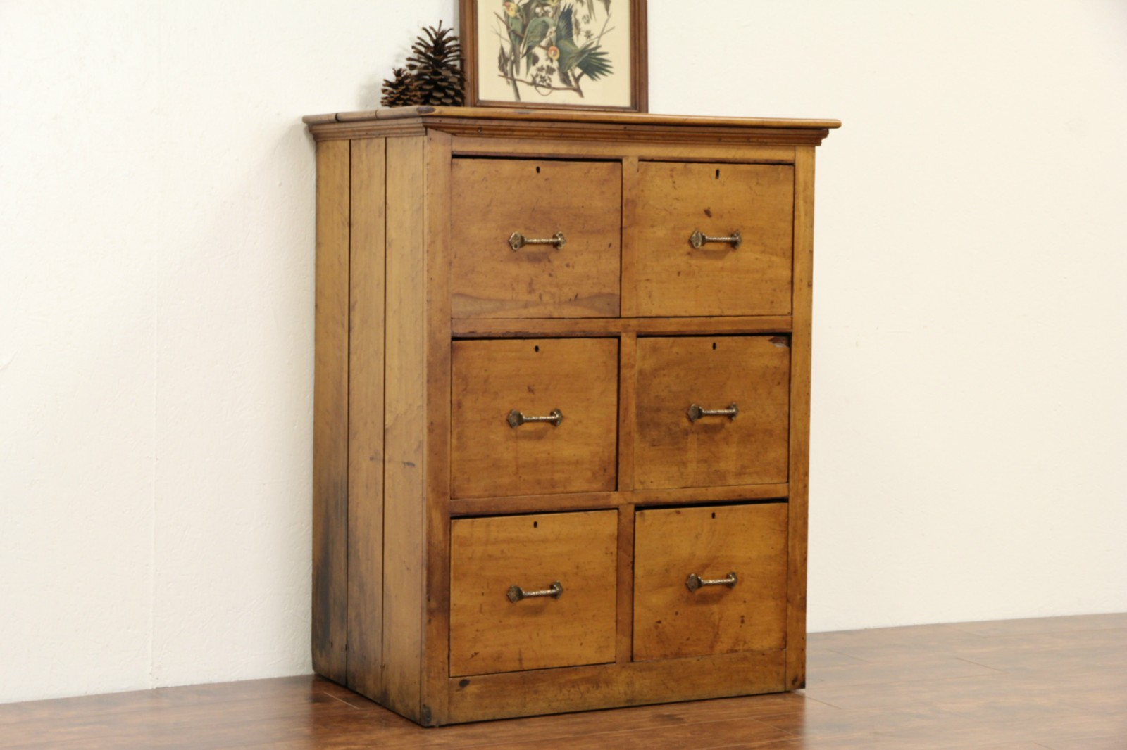 Primitive Maple 1890 Antique 6 Drawer Chest, File Cabinet, Bronze Pulls