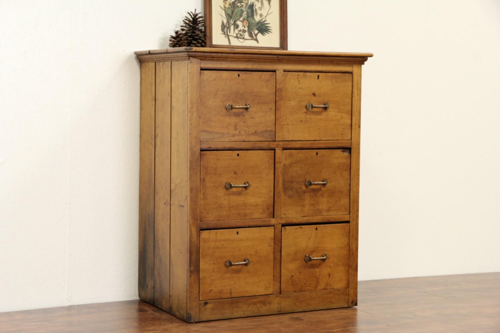 Primitive Maple 1890 Antique 6 Drawer Chest File Cabinet Bronze Pulls