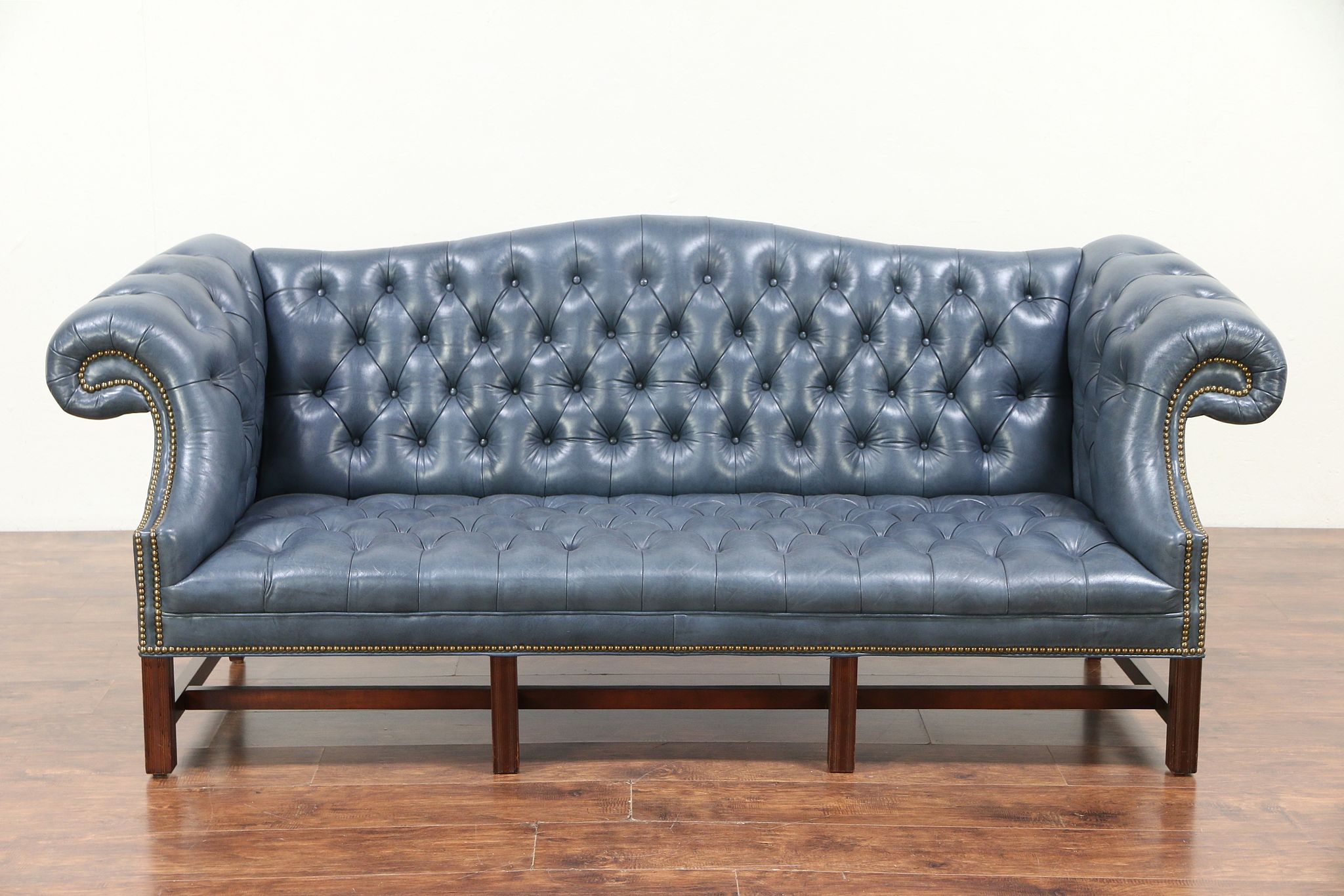 Chesterfield Tufted Leather Vintage Sofa Br Nailhead Trim 29423