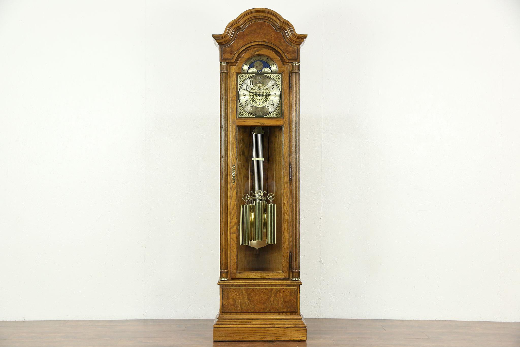 Oak Burl Long Case Grandfather Clock Westminster Chime Howard Miller