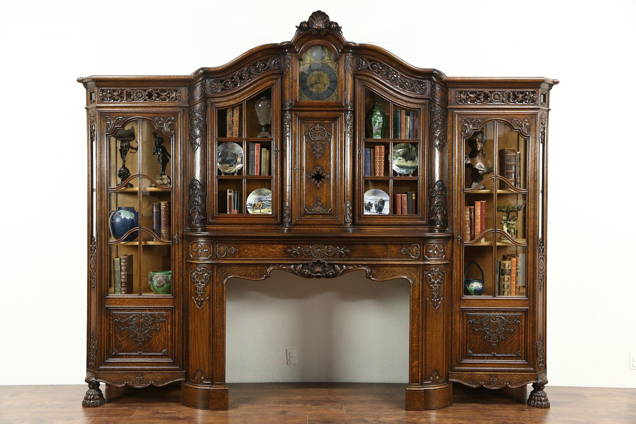 Clock & Bookcase - Harp Gallery Antique Furniture