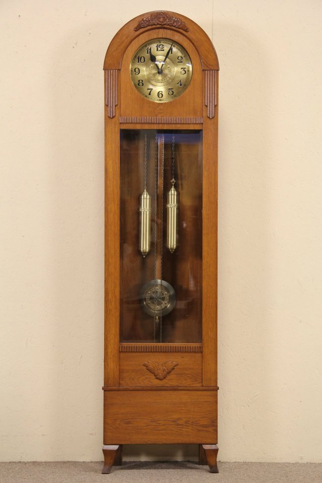 Sold Oak Tall Case Grandfather Clock 1915 Antique Berlin Germany Harp Gallery