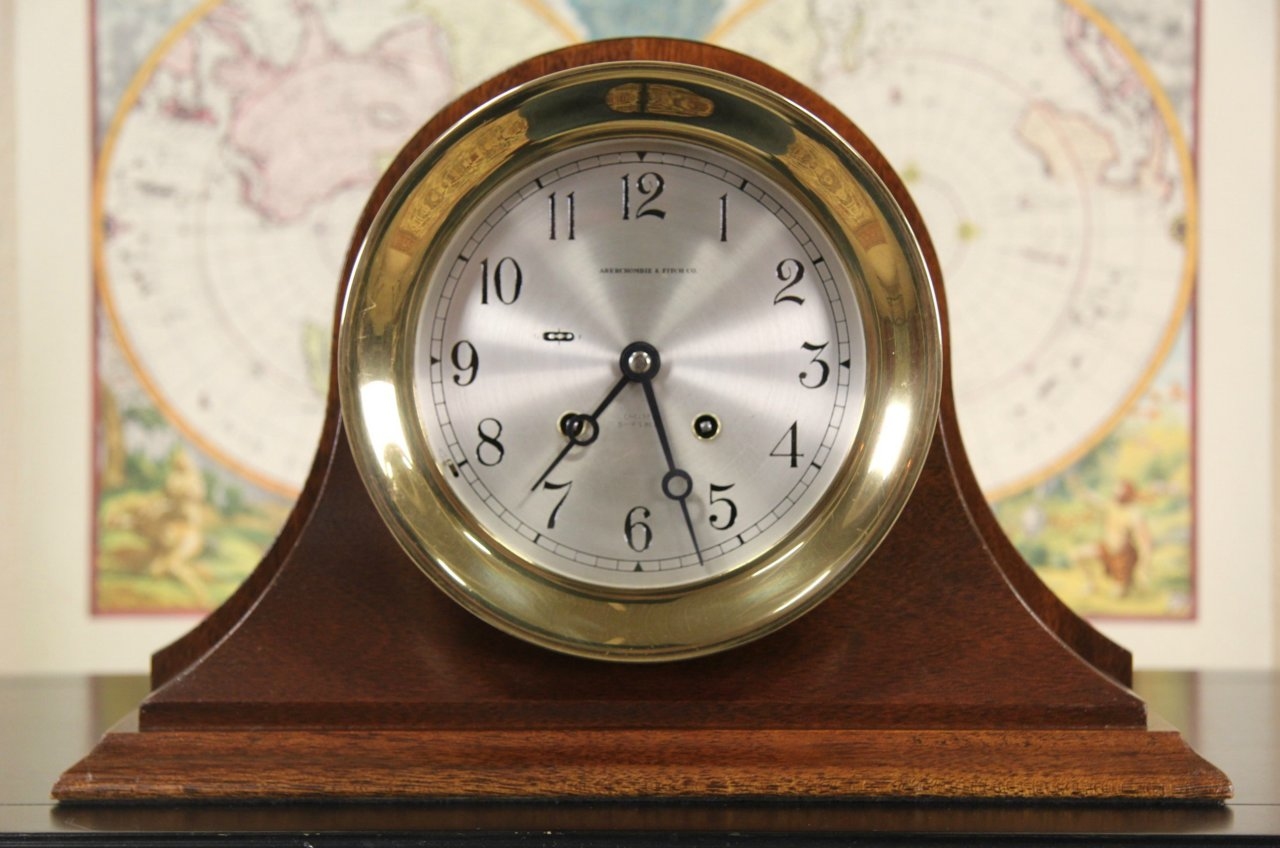 Chelsea Brass 1970 S Vintage Ship Clock With Bells Desk Stand