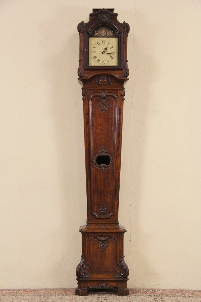 Sold Country French Long Case Oak 1880 Antique