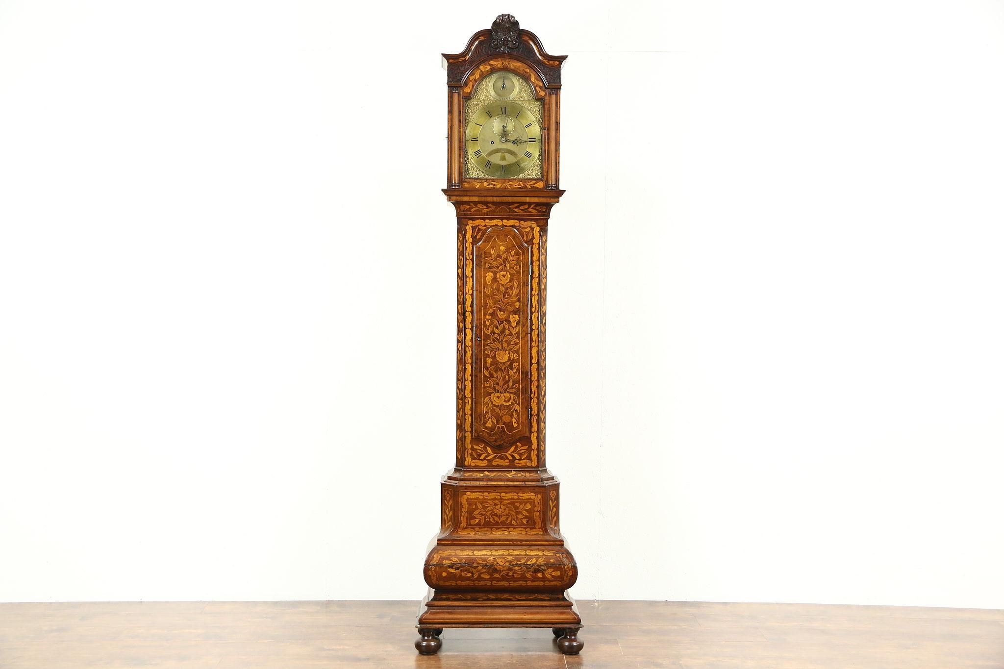 Dutch Baroque Marquetry 1700 S Long Case Grandfather Clock Straatman