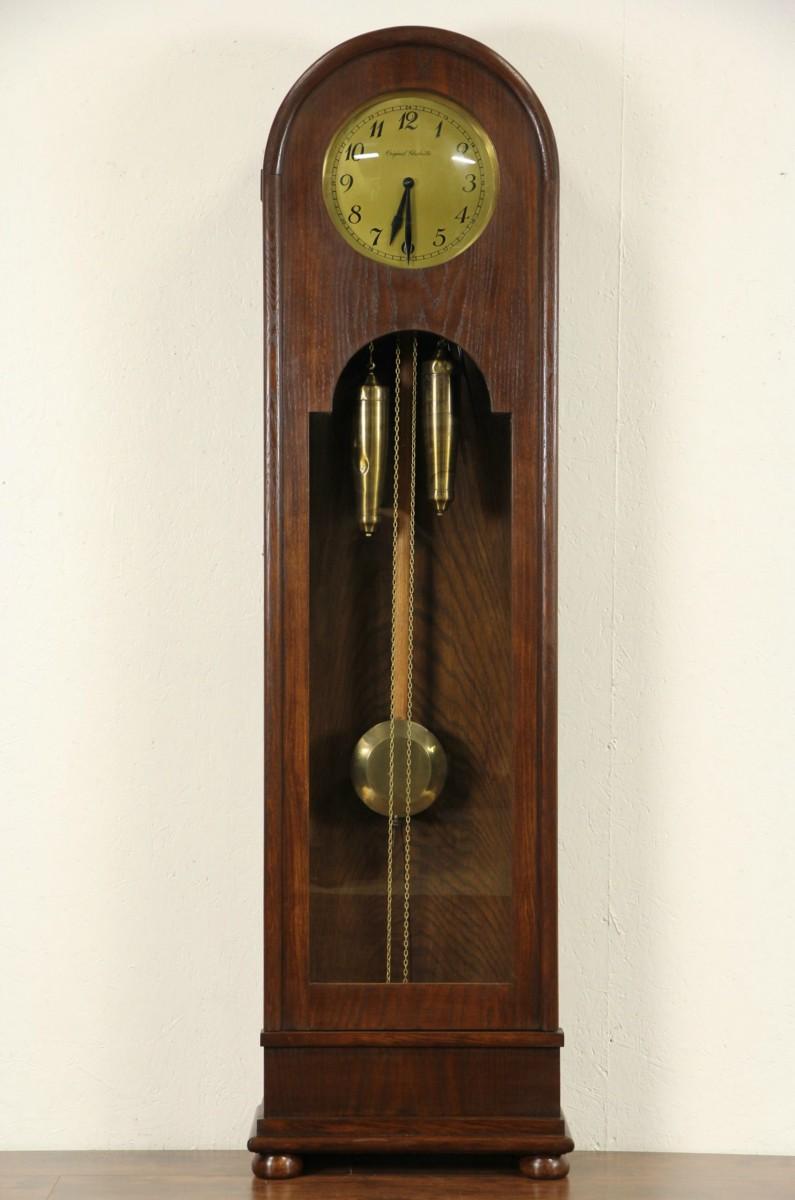 Sold German Signed 1920 Antique Oak Grandfather Long