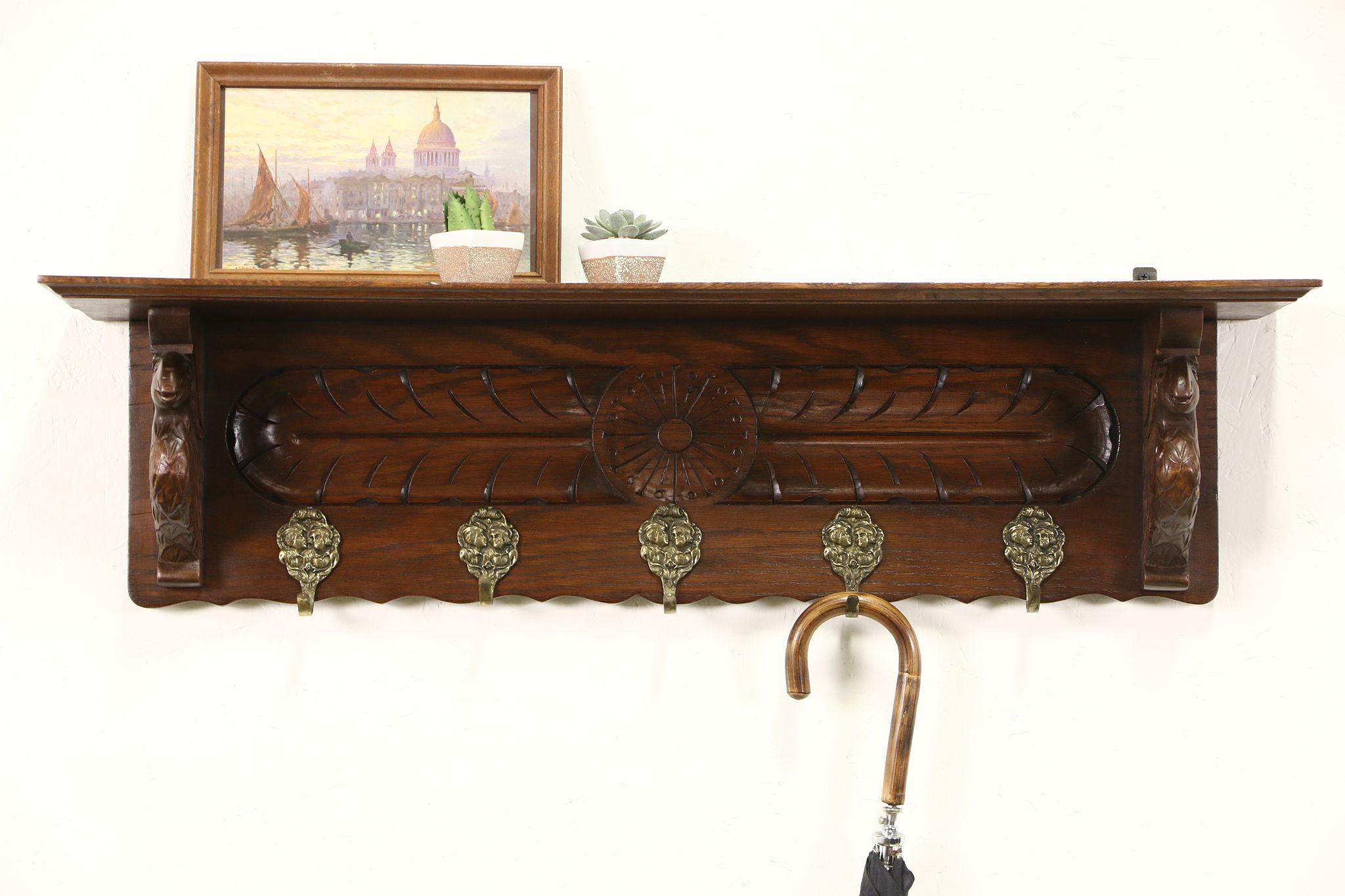 Dutch Oak 1890u0027s Antique Wall Shelf, Carved Sheep, Brass Hooks, Carved  Sheep ...