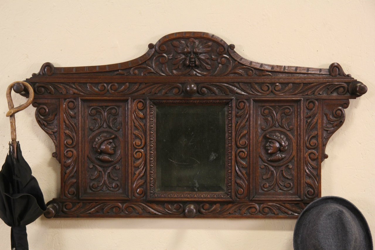 Dutch Carved Faces Antique 1880 Oak Hall Mirror, Coat & Hat Hooks ... - SOLD - Dutch Carved Faces Antique 1880 Oak Hall Mirror, Coat & Hat
