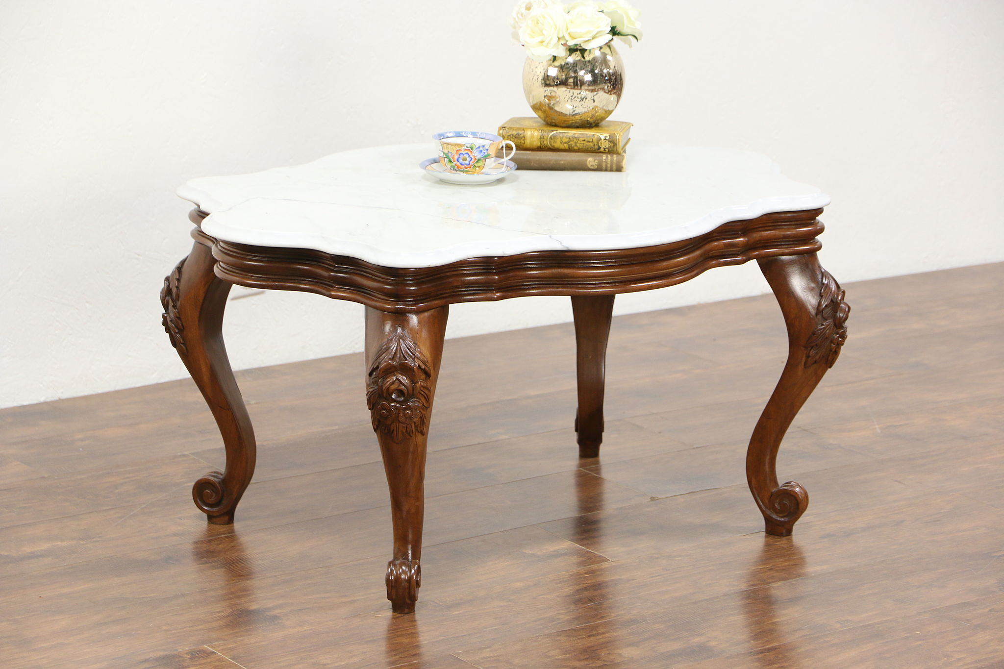 Victorian End Table SOLD - Victorian Style Vintage Marble Top Coffee Table, Carved Walnut -  Harp Gallery