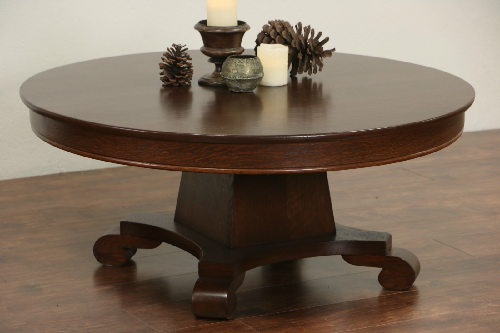 """SOLD Round 45"""" Oak Coffee Table from 1900 Antique Dining"""