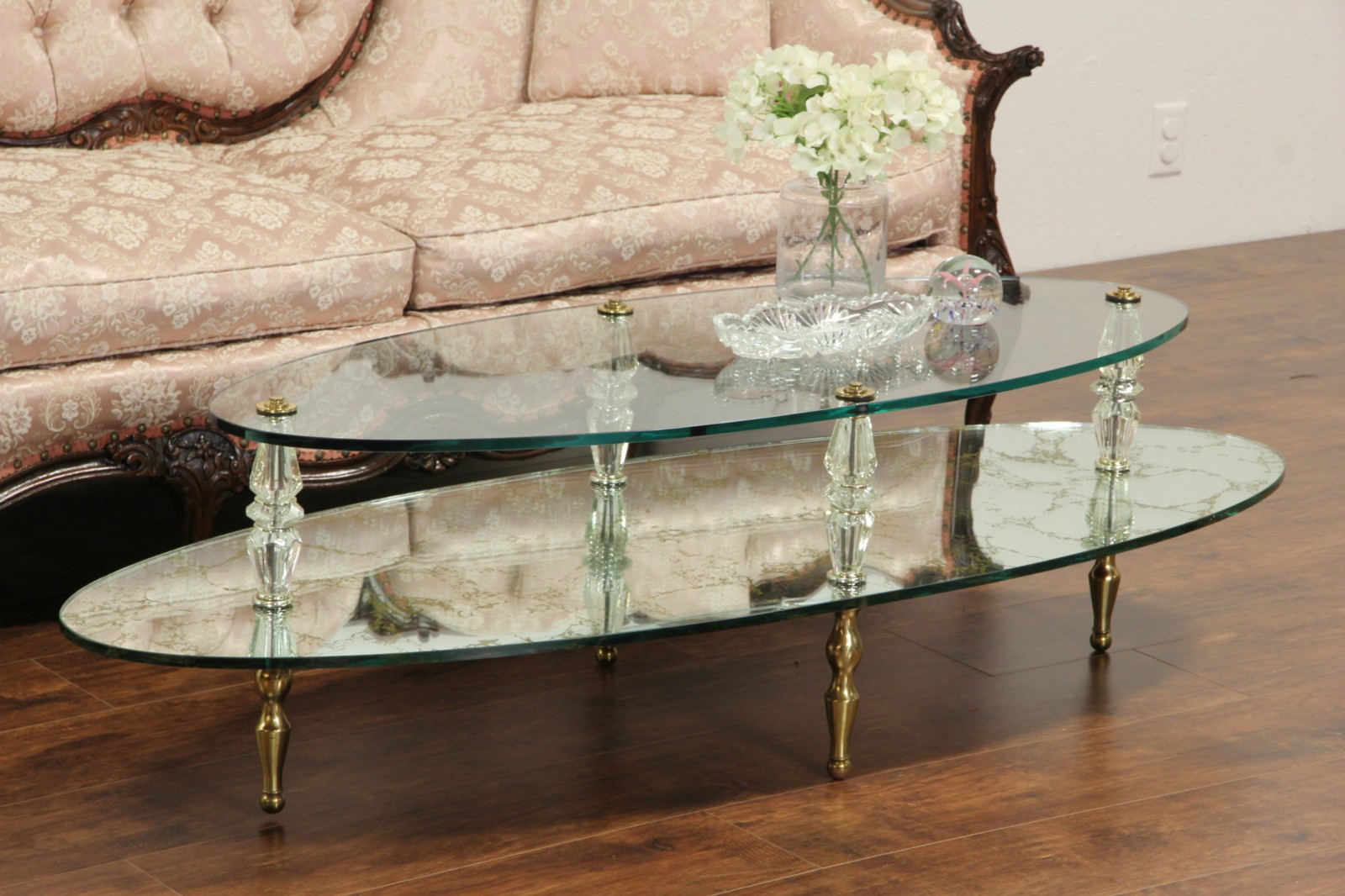 Hollywood Regency Glass U0026 Mirror 1960 Vintage Cocktail Table