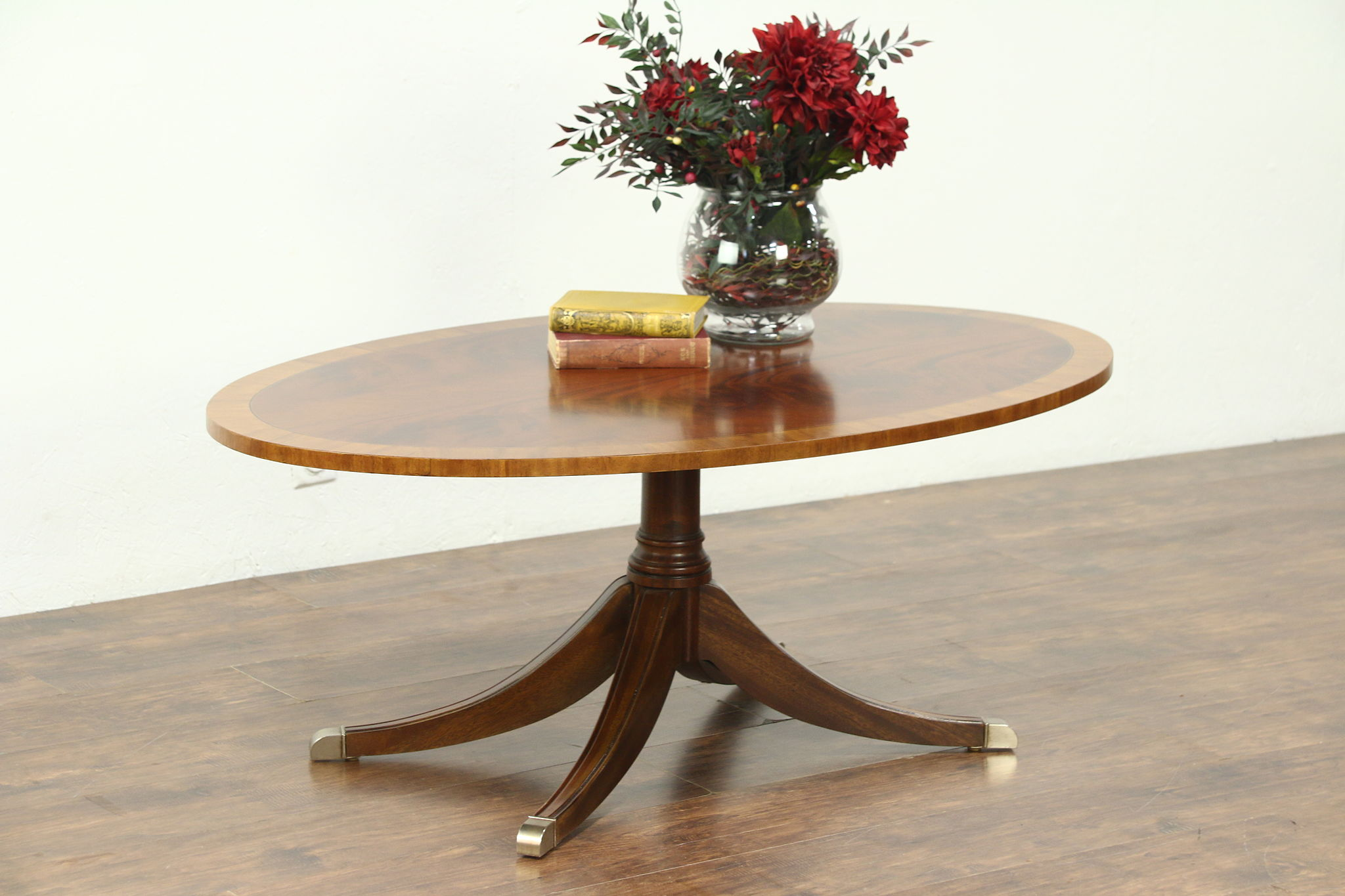 Traditional Vintage Oval Coffee Table Banded Mahogany Signed Ethan Allen Photo
